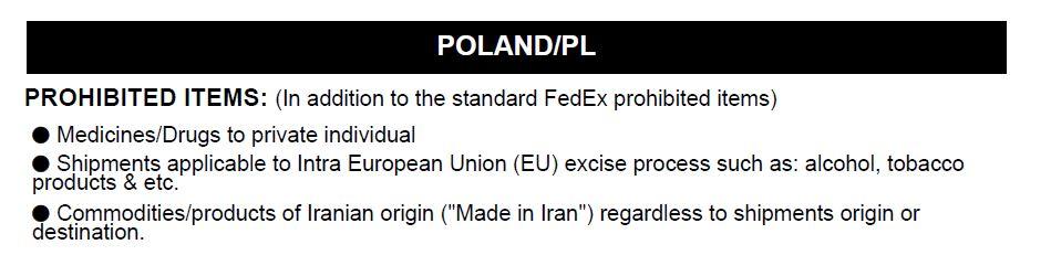 Доставка в Польшу из Украины - запрещённые грузы