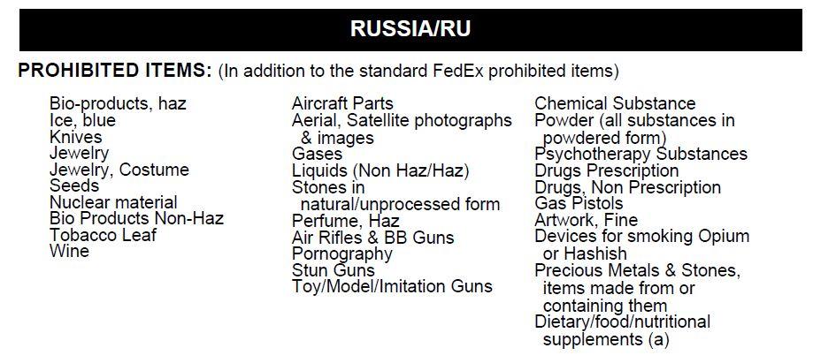 Доставка в Россию из Украины - запрещённые грузы