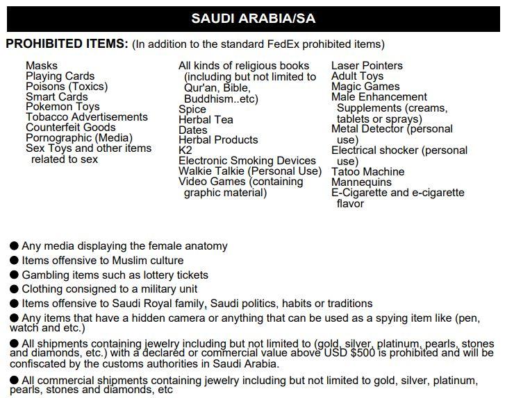Доставка в Саудовскую Аравию из Украины - Таможенные Запрещённые Грузы