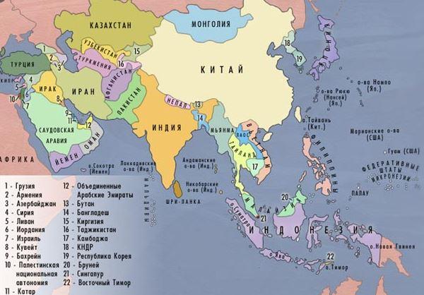 Доставка в Азію з України - карта