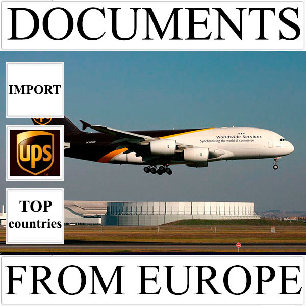 Delivery of documents up to 0.5 kg from Europe to Ukraine (top countries) by UPS