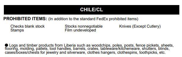 Доставка в Чилі з України - Заборонені вантажі