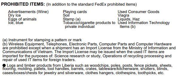 Доставка у В'єтнам з України - Заборонені вантажі