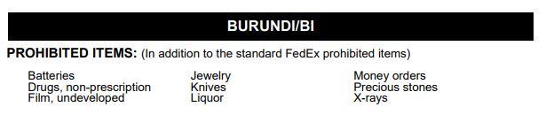 Доставка в Бурунди из Украины - Запрещенные грузы